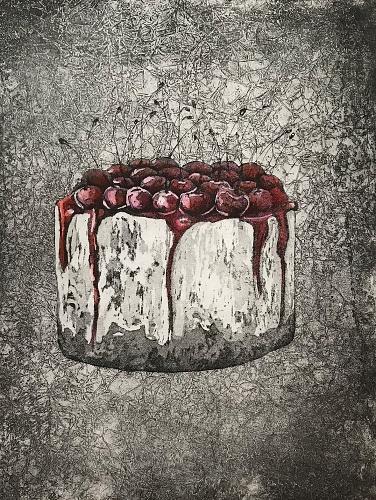 La ciliegina sulla torta (2020) - variante acquerello - acquaforte, acquatinta, ceramolle e acquerello, 180x240 mm