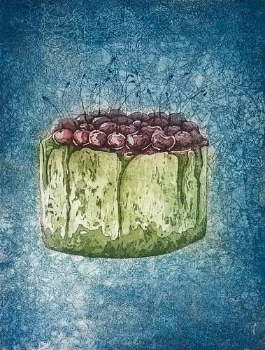 La ciliegina sulla torta (2020) - variante colore - acquaforte, acquatinta e ceramolle, 180x240 mm -   Collezione privata (ITA)