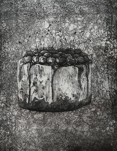La ciliegina sulla torta (2020), acquaforte, acquatinta e ceramolle, 180x240 mm